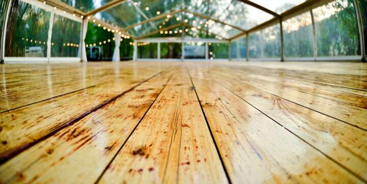 marquee for hire with wooden floor in Hunter Valley