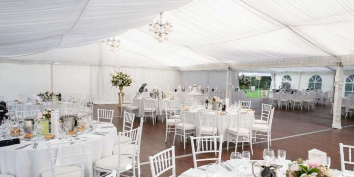 wedding marquee hire with silk lining and floor