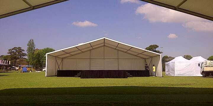 corporate marquee for hire stage covering