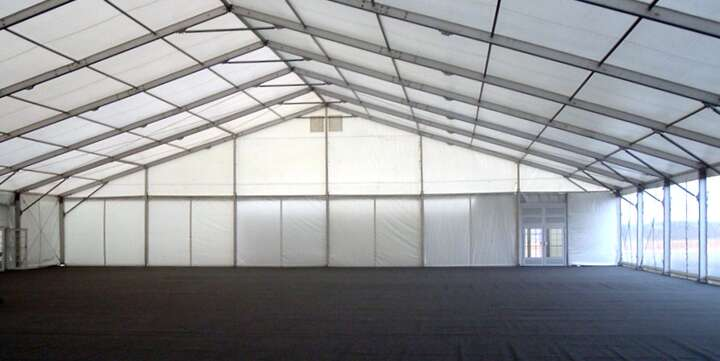inside of large corporate marquee for hire