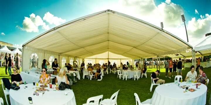 large party marquee hire with silk lining