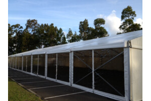 large marquee for hire with clear walls